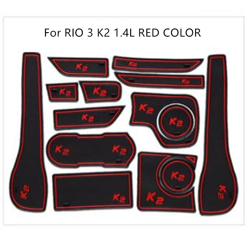 Door Groove Mat For Kia RIO 3 K2 1.4 L 1.6L Accessories Anti-Slip Mat Gate Slot Coaster Car Interiors Gel Pad Rubber Mat
