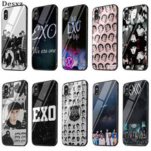 Kpop Exo Lucky One Glass Case Phone for iPhone 5 5s SE 6 6s 7 8 Plus XR X XS Max Cover Protection(China)