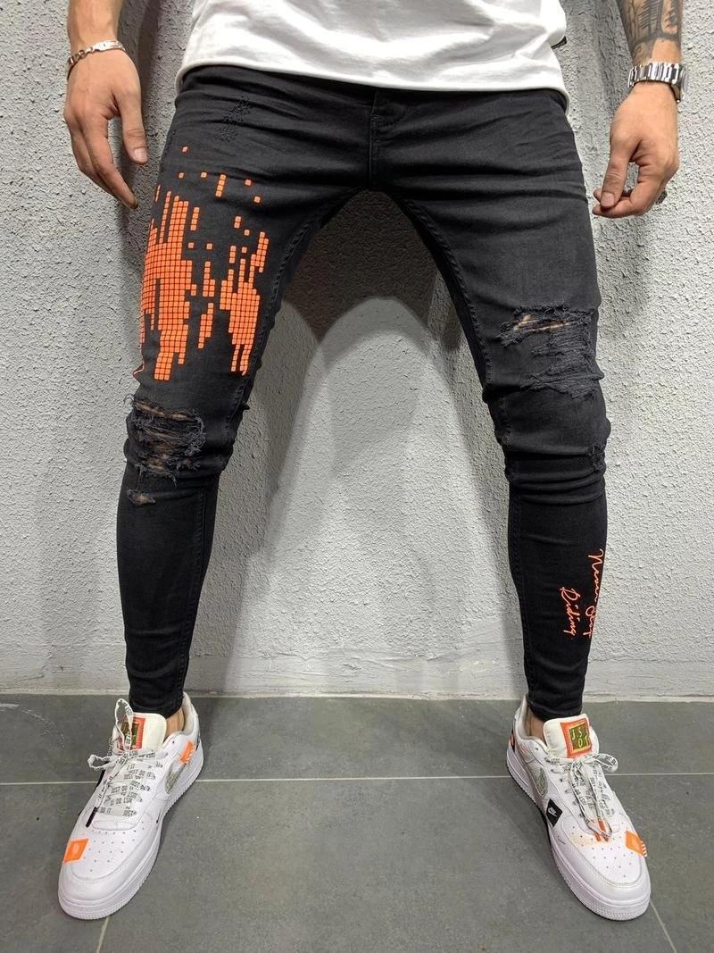 REPPUNK 2019 New Streetwear Elastic Men Ripped Skinny Jeans Slim Fit Denim Pants Elastic Male Harem Fashion Style Trousers