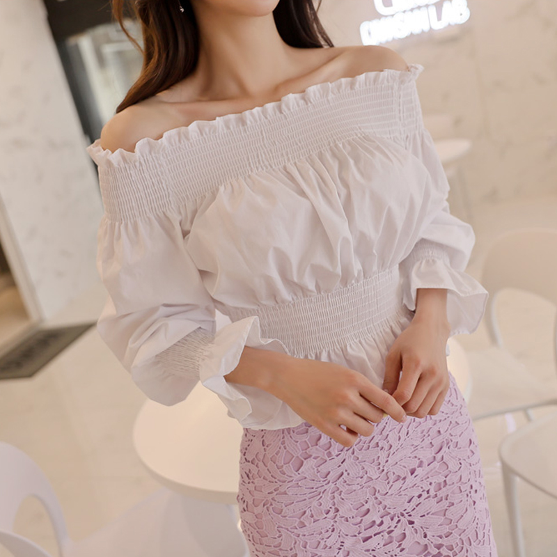 CINESSD The Sexy Off Shoulder Blouse Render Tops Women Autumn Rayon White Streetwear Chiffon Long Puff Sleeved Crop