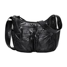 New burlie Women Messenger Bags High Quality Cross Body Luxury Bags soft washed PU Leather Female Shoulder Handbags Sac A Main