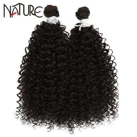 Feixes de Cabelo Preto para as Mulheres 2pcs de Fibra de Alta Natureza Cabelo Sintético Afro Kinky Curly Weave Hair Extension 24 Polegada Temperatura Onda