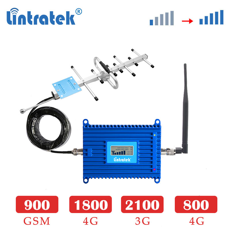 Lintratek 4G LTE 800mhz Band 20 GSM 900 1800mhz Cellular Amplifier 3G 2100 1800 4G Repeater Signal Booster Set Yagi Antenna 8