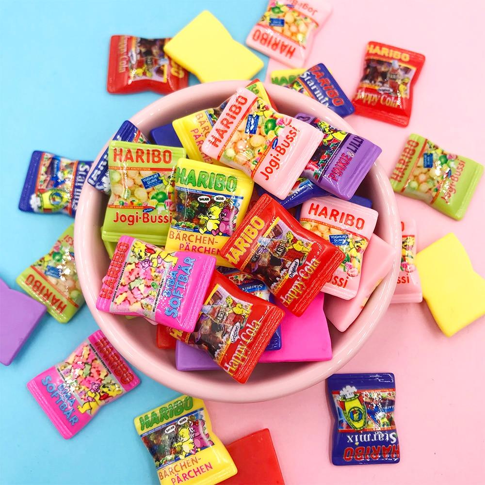 30Pcs Kawaii Cartoon Simulation Candy Fake Food Resin Cabochon Flat Back Cabochons For Bows DIY Scrapbooking Craft Accessories