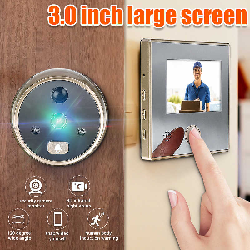 3 بوصة Sy-1 TFT LCD HD الرقمية باب كاميرا العين الجرس الكهربائية باب العين نقل كشف 120 درجة ثقب الباب المشاهد فيديو