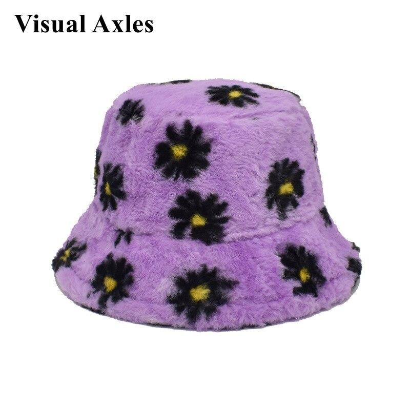 Sombreros de pescador cálidos para mujer, sombrero de pescador con dibujo de Margarita, piel sintética, estilo pescador