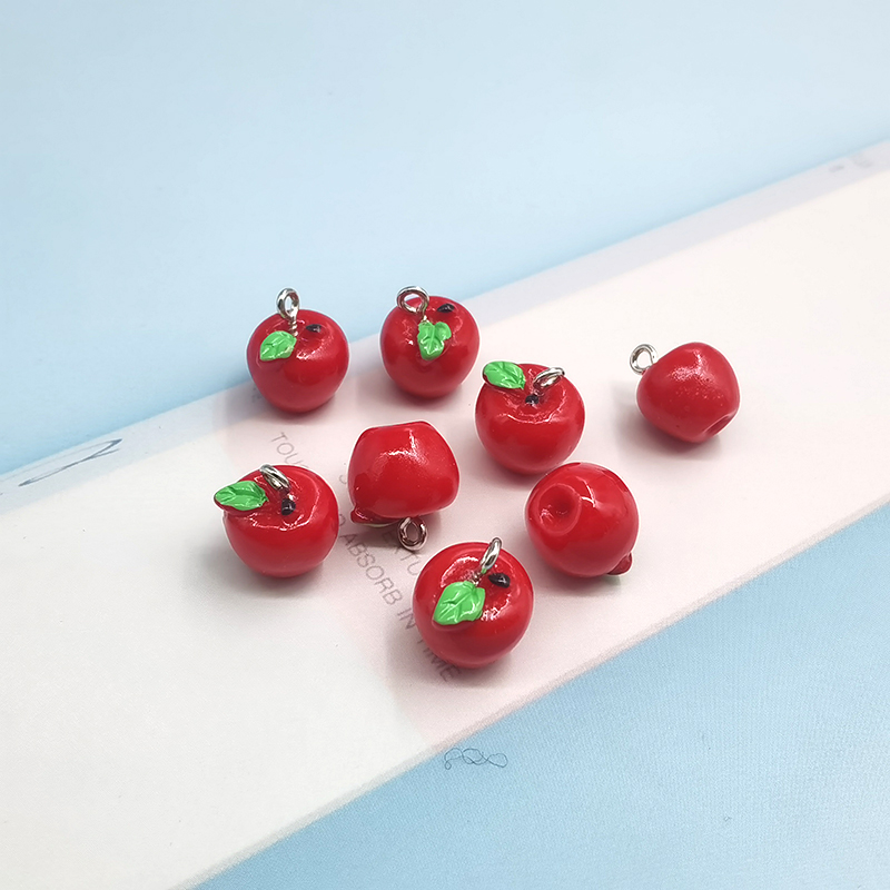 10pcs Kawaii Red Apple Resin Charms for Jewelry Making Cute Fruit Pendant for Earring DIY Fashion Jewelry Accessories C340