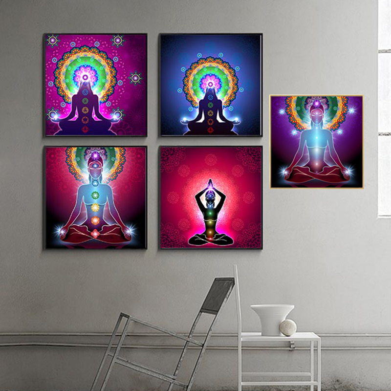 Canvas Art Posters Prints Indian Buddha Statue Meditation 7 Chakra Mandala Psychedelic Yoga Boho Wall Art Paintings Décor