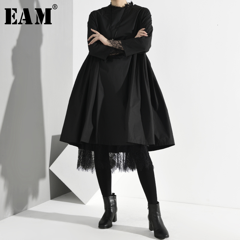 [EAM] Women Black Pleated Split Mesh Two Piece Dress New Round Neck Long Sleeve Loose Fit Fashion Tide Spring Autumn 2020 Y13101