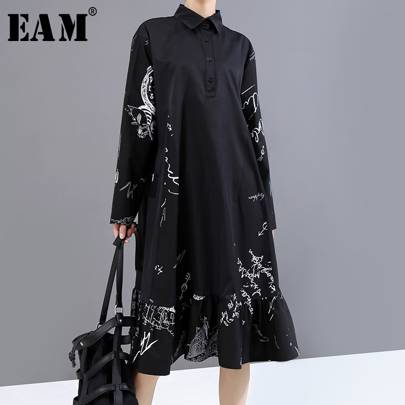 [EAM] Women Black Pattern Printed Big Size Shirt Dress New Lapel Long Sleeve Loose Fit Fashion Tide Spring Autumn 2020 1Y924
