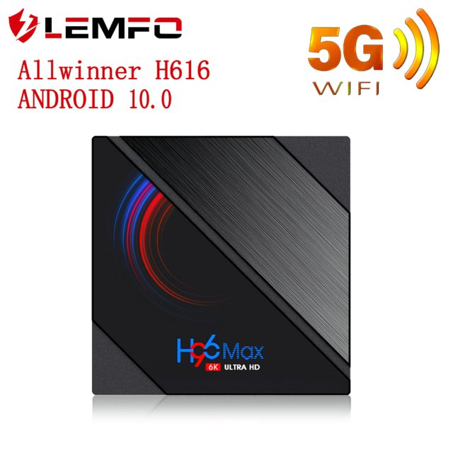 LEMFO Smart TV BOX Android 10 4k 6K 1920*1080p Support Projector HDR10 BT4.0 2.4G/5G WiFi Android TV BOX for Home Video