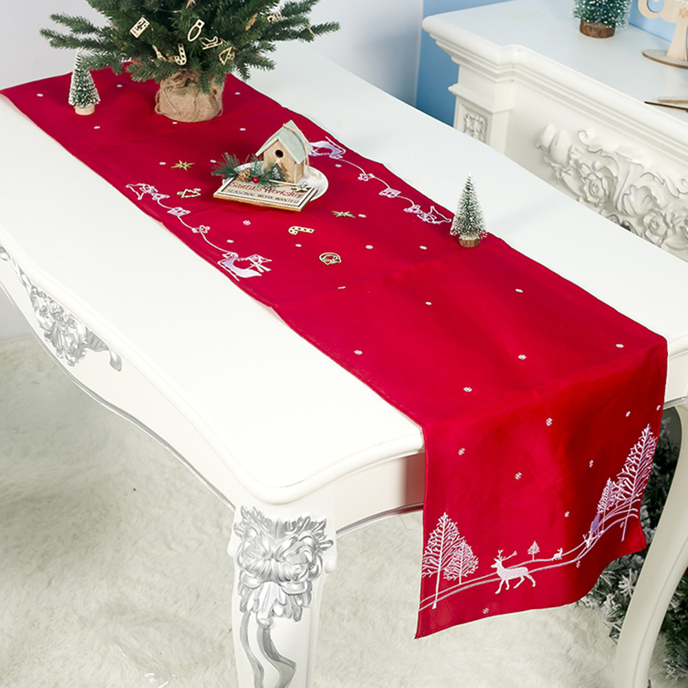 Embroidered Christmas Table Runner Cloth Deer Cover Home Party Decor 180*40cm Dinner Christmas Display Landscape Layout