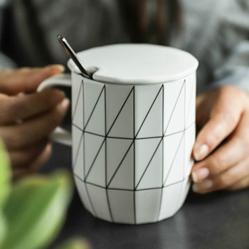 Geometric Ceramic Mug with Lid and Spoon Office Hot Chocolate Plain White Coffee Mugs Kubek Ceramiczny Minimalist Coffee HH50MK
