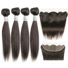 Magnate de pelo 50 g/pc 4/6 mechones con 4x13 Frontal de encaje 10-16 pulgadas Color Natural brasileño recto humano no Remy armadura del pelo