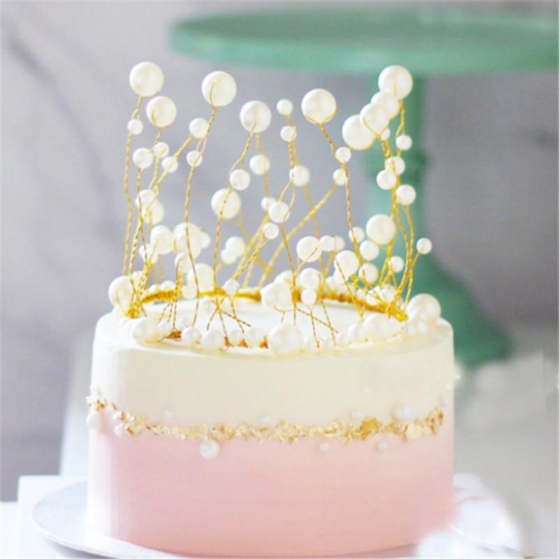 Awesome Korean Cake Decoration Tools Wedding Decoration Tassel Pearl Crown Funny Birthday Cards Online Elaedamsfinfo