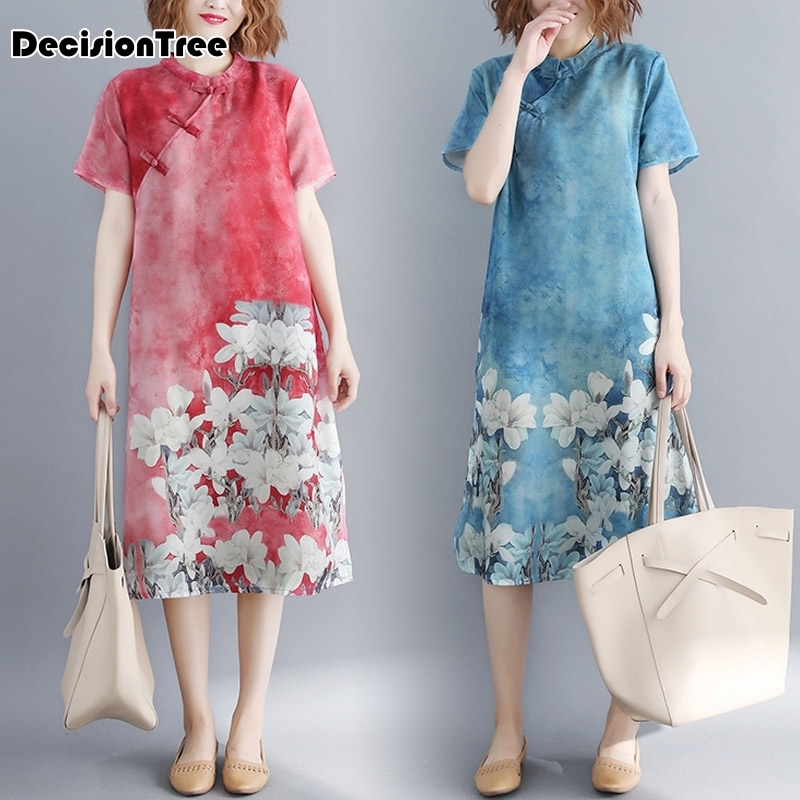 2020 Chinese Traditional Dress Women Cotton Linen Cheongsam Short Sleeve Blossom Flower Printing Loose Chinese Dress Qipao