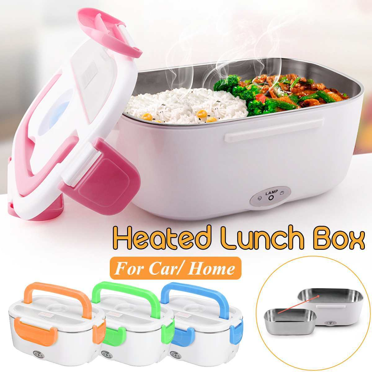12V-24V 110V 220V Electric Heated Lunch Box Portable 2 In 1 Car& Home US Plug/EU Plug Bento Boxes Stainless Steel Food Container