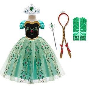 Платье для девочек в стиле Анны для маленьких детей Снежная Королева Костюм с парик короны для детей на день рождения, вечерние платья принц...