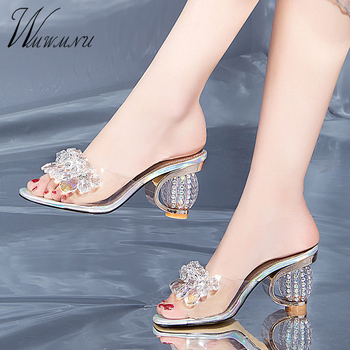 Designer Shoes Women Luxury Rhinestone Crystal Pumps 2020 New PVC Clear Transparent Slippers Jelly Sandals Party High Heels new arrival women italian african party pumps shoes and bag set decorated with rhinestone matching shoes and bag set in heels