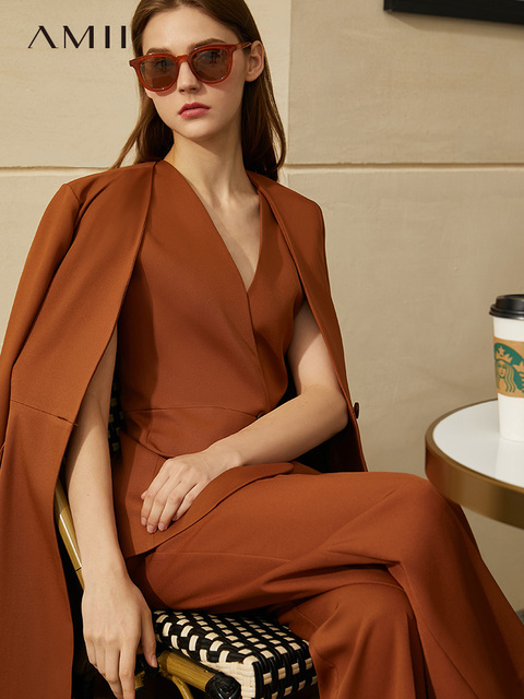 Amii Minimalism Spring New Offical Lady High Waist WomenSuit Pant Causal Full Sleeve A buckle Calf length Women's Coat  12070369|Women's Sets|   -