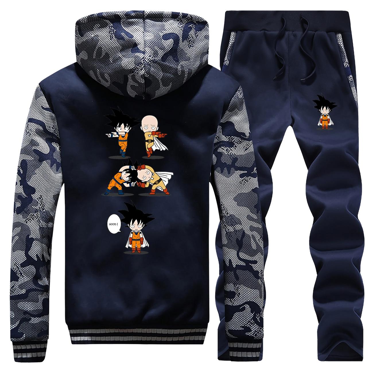 One Punch Man Saitama Jacket Pants Set Winter Men One Punch Man Saitama Hoodies Sweatshirt Tracksuit Suit Thick Coat Sportswear