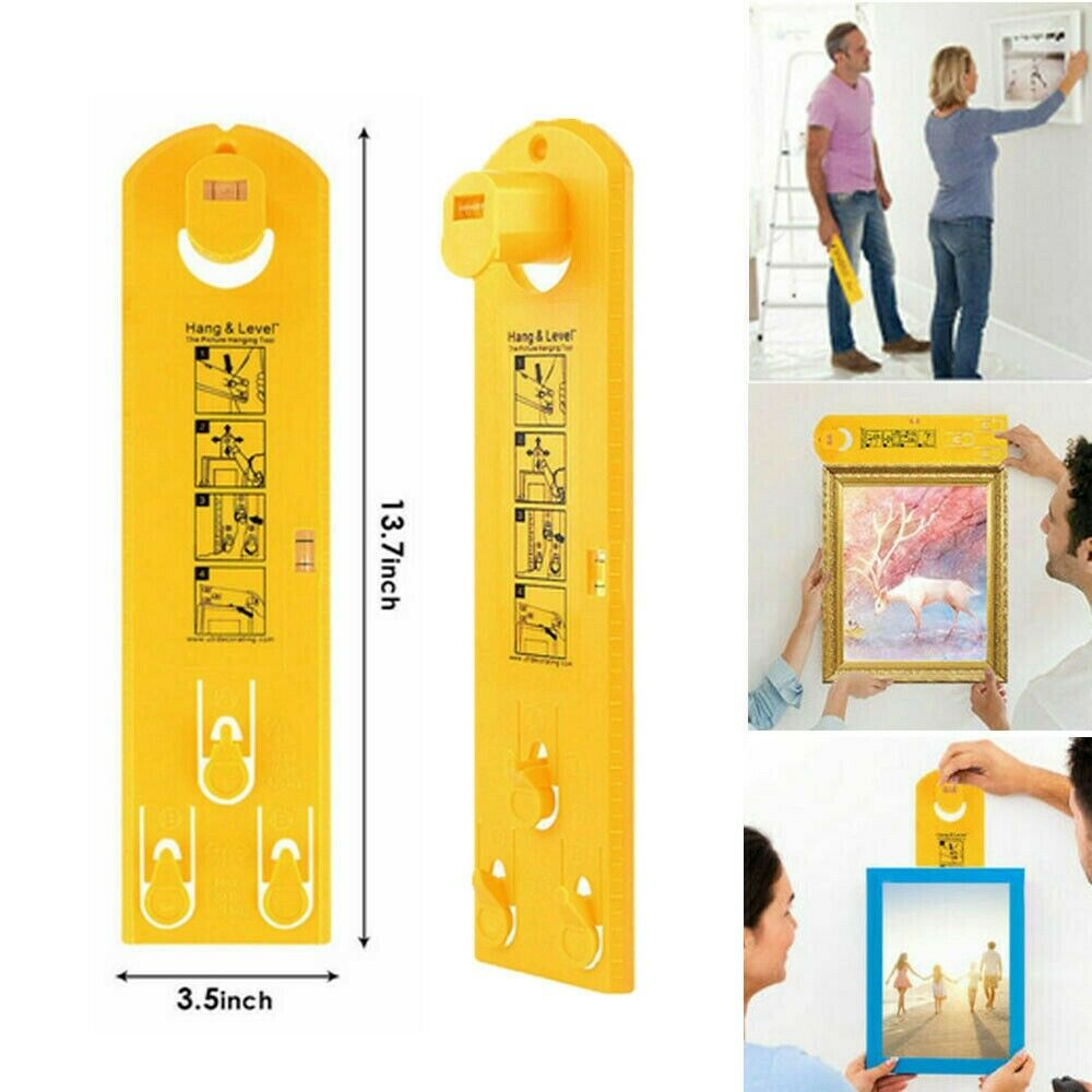 Picture Frame Hanger Hanging Hand Tool Makes Picture Hang Easy Wall Hanging Multifunction Level Ruler Bubble Level Measure Tool