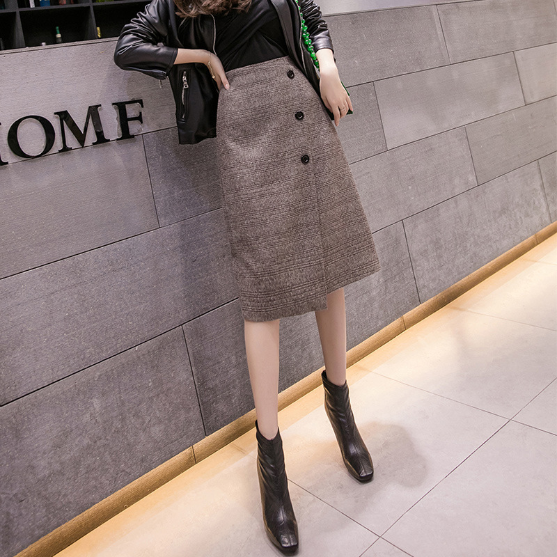 S-2xl Retro Plaid Wool  Skirt Women For Winter 2019 High Waist Pencil Skirts Womens Puls Size Slim Korean Skirt Women Jupe Femme
