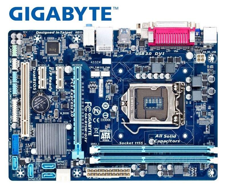 Original Motherboard Gigabyte GA-B75M-D3V    B75M-D3V  DDR3  LGA 1155 Mainboard