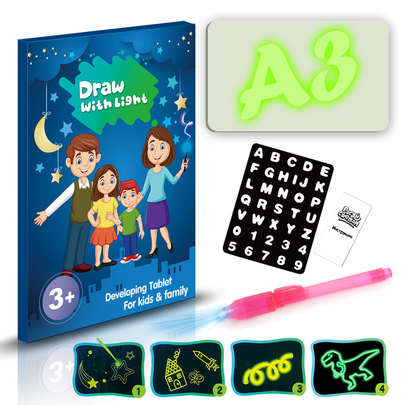 LED Light Drawing With Night Light In Dark Children Funny Toys Writing Magic Luminous Drawing Board A2 A3 A4 Draw Light Set Kids