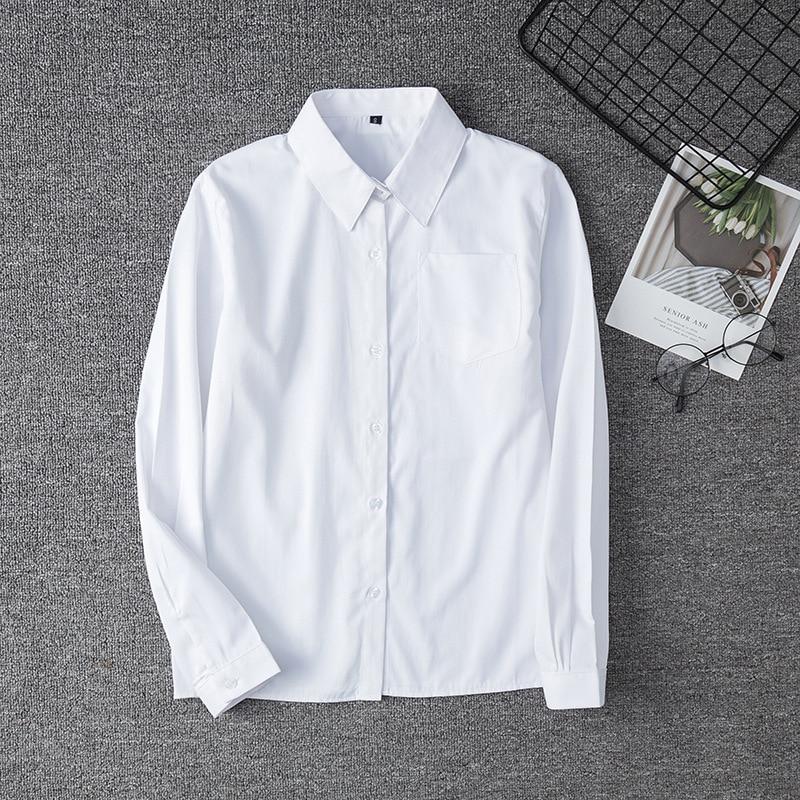 White Cotton Japanese Student Girls School Jk Uniform Top Large-Size XS-5XL Middle High School Uniforms Long Sleeve White Shirt