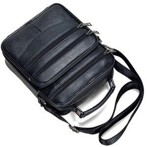 Image 4 - Hommes en cuir véritable sacs à main mâle de haute qualité en cuir de vachette sacs de messager hommes Ipad sac daffaires taille moyenne mallette fourre tout
