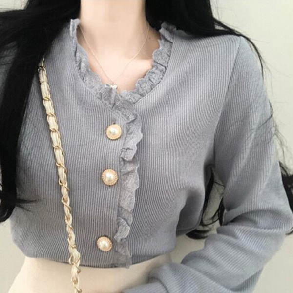 Женская винтажная блузка Gagaok, весенне-осенняя однотонная кружевная блузка с v-образным вырезом и пуговицами, милые женские модные корейские...