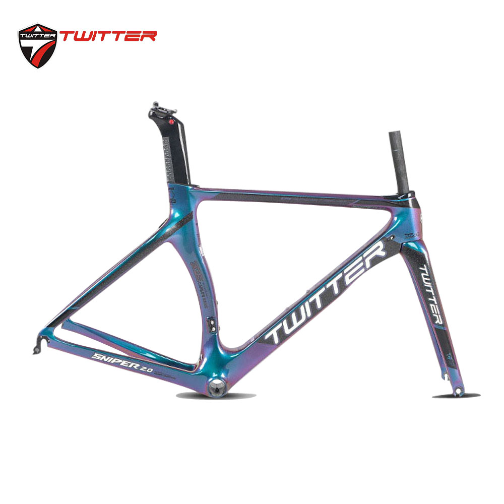 700C Road Bike 18k Carbon Frame Discolored Road Bicycle Racing Frame+Fork+Seatpost Cable Routing Internal C Brake F9X100 R9X130