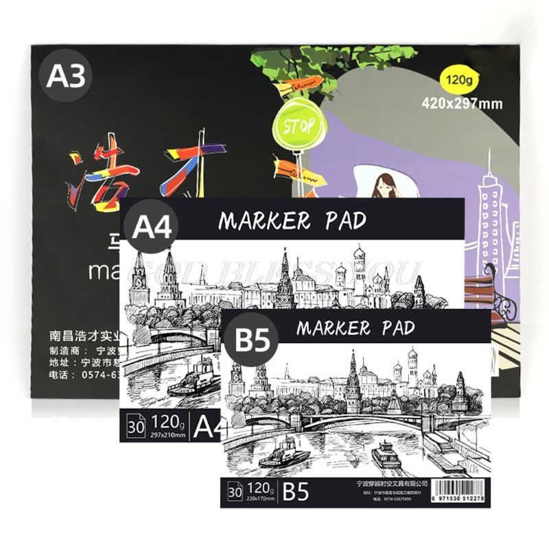 A3/A4/B5 Drawing Paper Pad Notebook Sketch Book for Marker Art Paiting Diary Student Gifts 30 Sheets