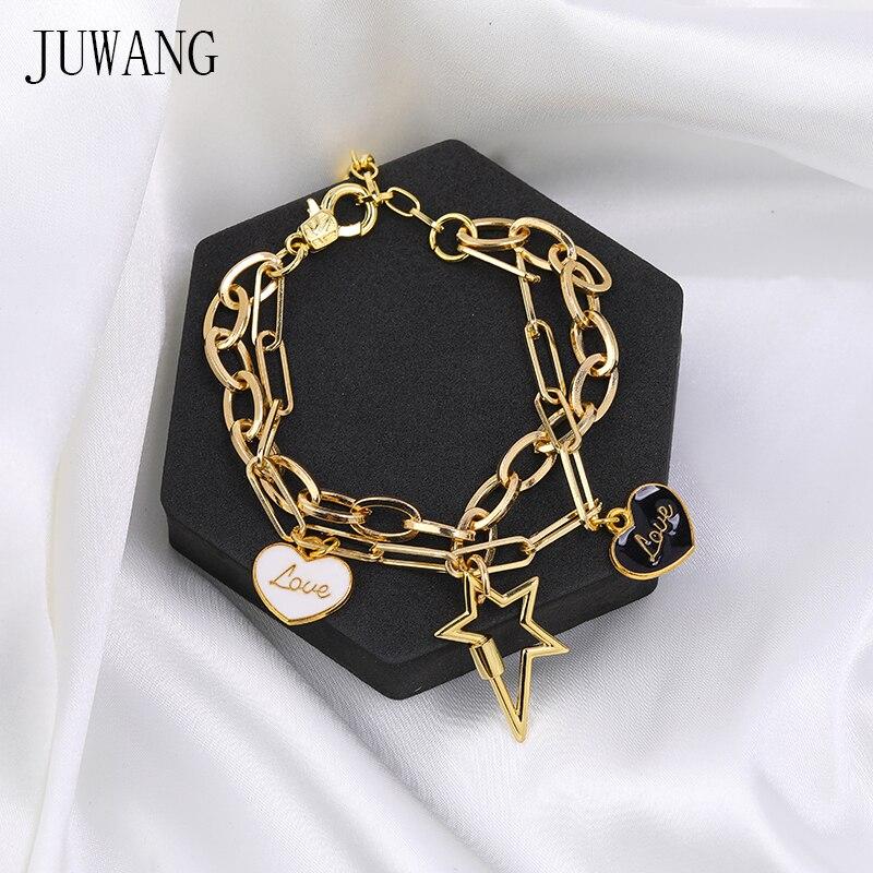 JUWANG, новинка 2020 года, модные браслеты-цепочки для женщин и мужчин, самодельный браслет ручной работы с подвеской молнией, браслет с двойными ...