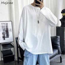 Męskie koszulki z długim rękawem jesień mężczyzna prosta konstrukcja jednolity, w stylu Basic Oversize 5XL miękka przytulna wysokiej jakości cały mecz koreański Fashion Chic