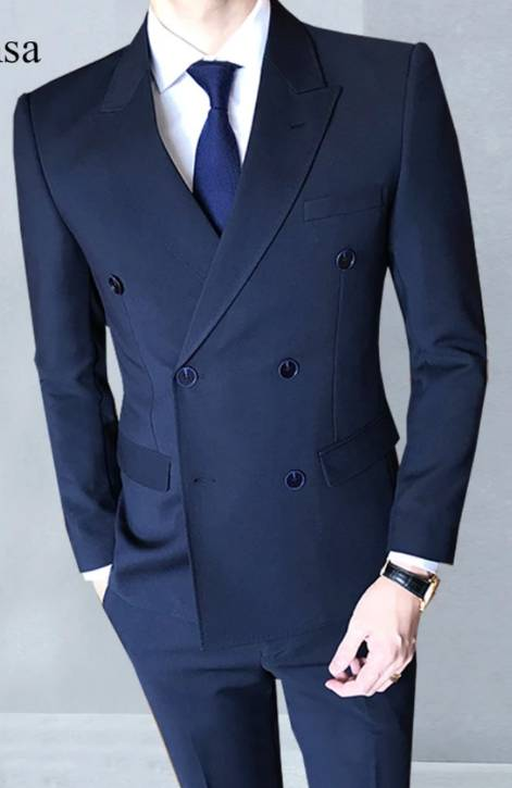 Navy Blue Male Suit Men's Casual Office Formal Double Breasted Suits Men Business Wedding Tuxedos Suits (jacket+pants+VEST+tie)