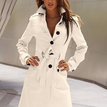 Slim Womens Coats 2019 Winter Single Breasted Wool Blend Coa