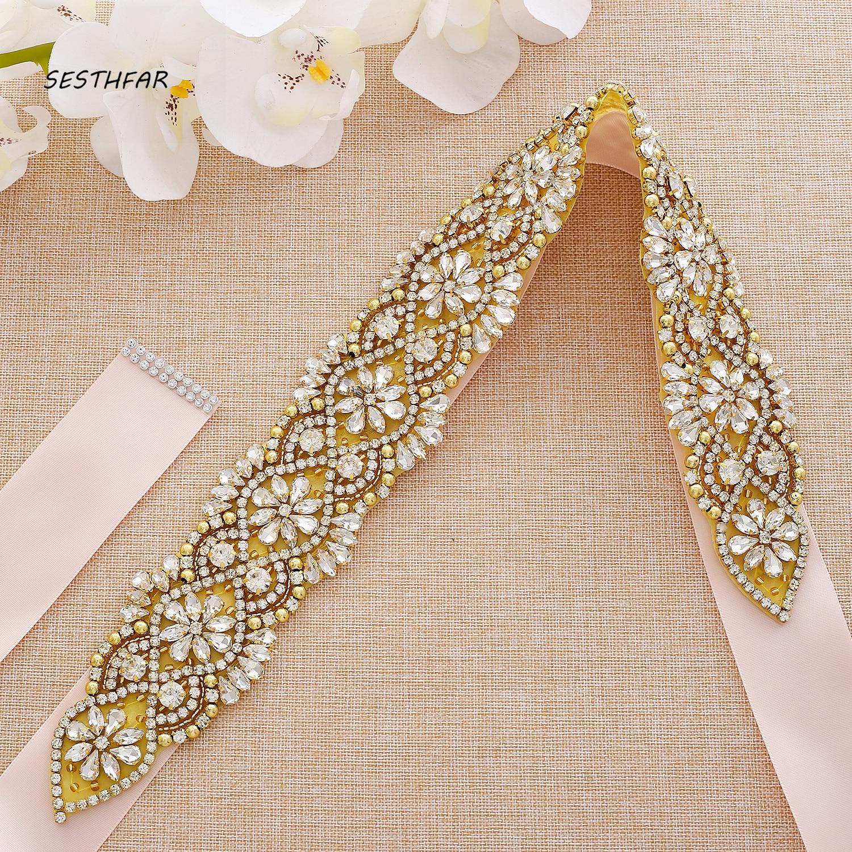 Rhinestones Bridal Belt Crystal Wedding Dress Sash Belt With Pearls Beads For Wedding Prom Gown J139G