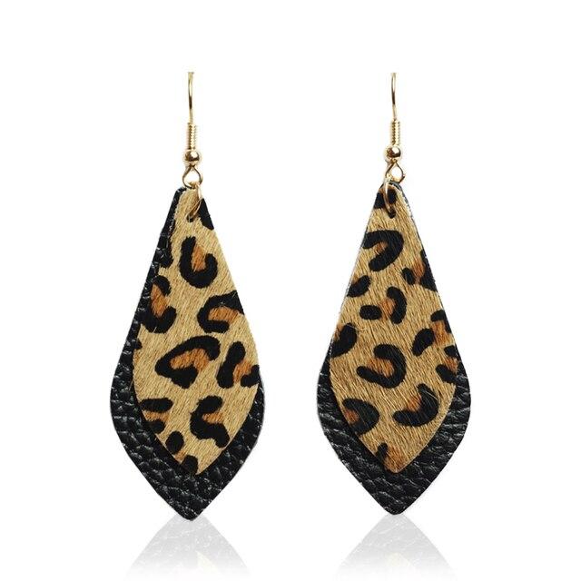 Stone Grey Leopard Genuine Leather Drop Earrings