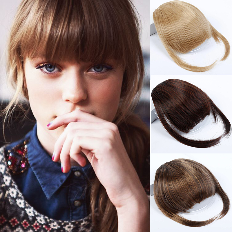 MUMUPI  Natural Black Brown Neat Front Clip In Hair Bangs Extensions Clip On Synthetic Hair False Fringe Hairpieces