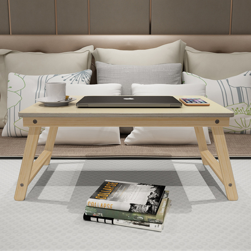 Portable Foldable Computer Desk Solid Wood Bed Tray Lazy Table Breakfast Dining Serving Table Bed Learning Folding Laptop Desk