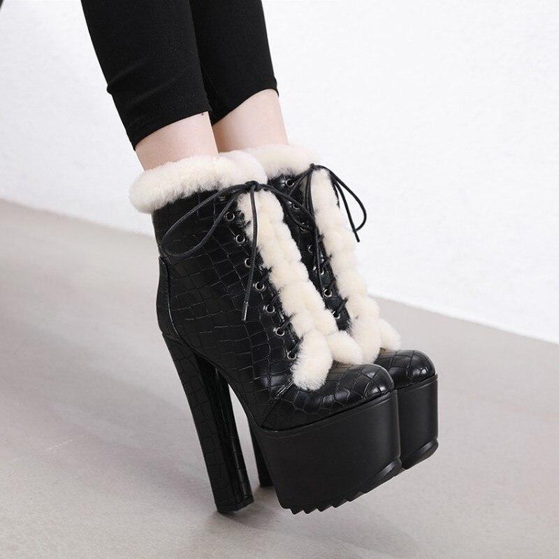 Womens Platform Fur Lace Up Ankle Boots Block Super High Heel 16CM Platform Side Zipper Warm Winter Nightclub Sexy Shoes Black