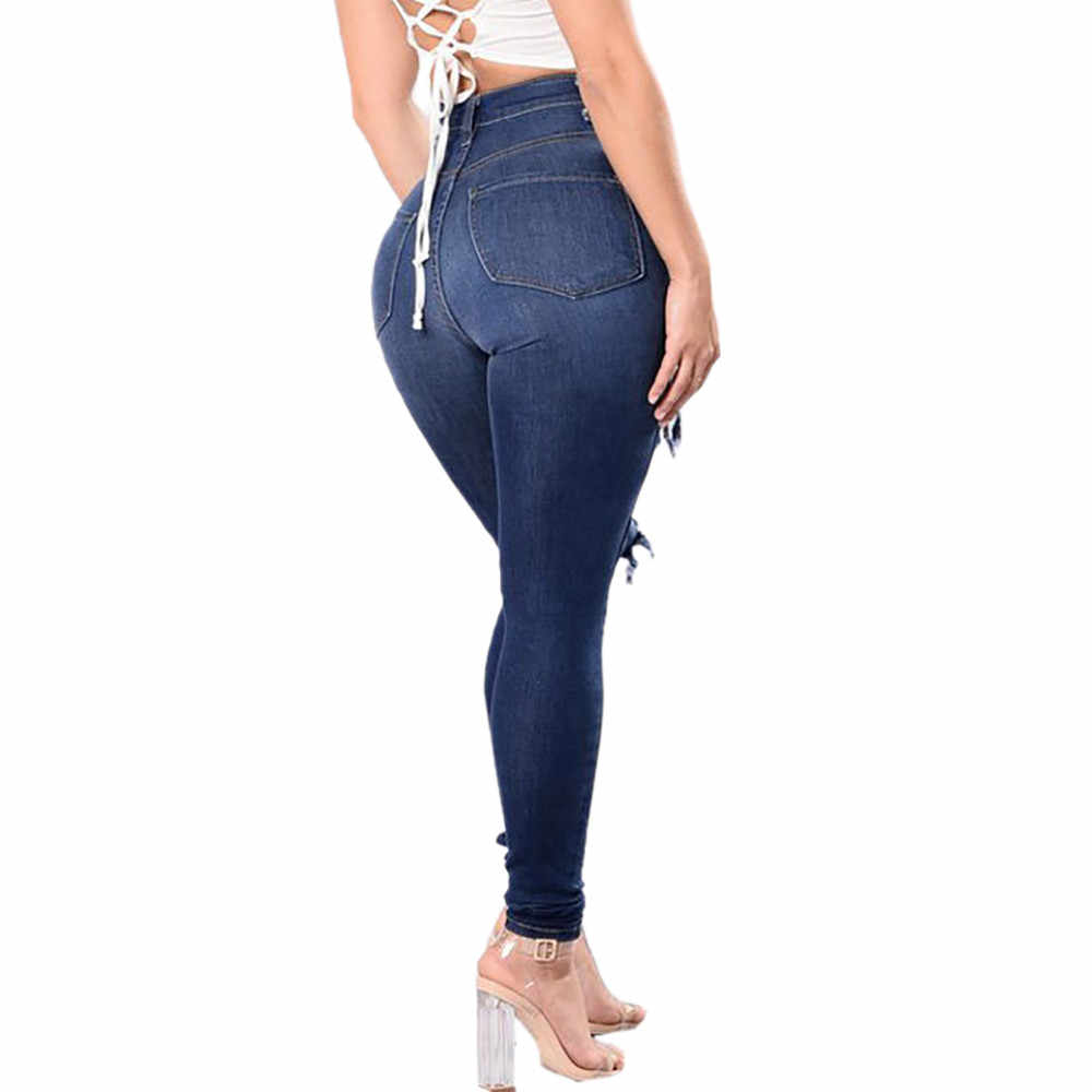 Fashion Ripped Jeans High Waist Skinny Jeans Destroyed Women Sexy Call European And American Cool#g4