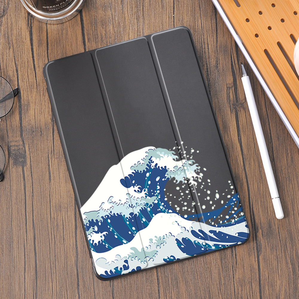 Kanagawa vagues pour Air 4 iPad support étui porte-crayon 10.2 7th 6th 11 Pro 12.9 Funda 2020 Mini 5 couverture Silicone 10.5 Air 2 3