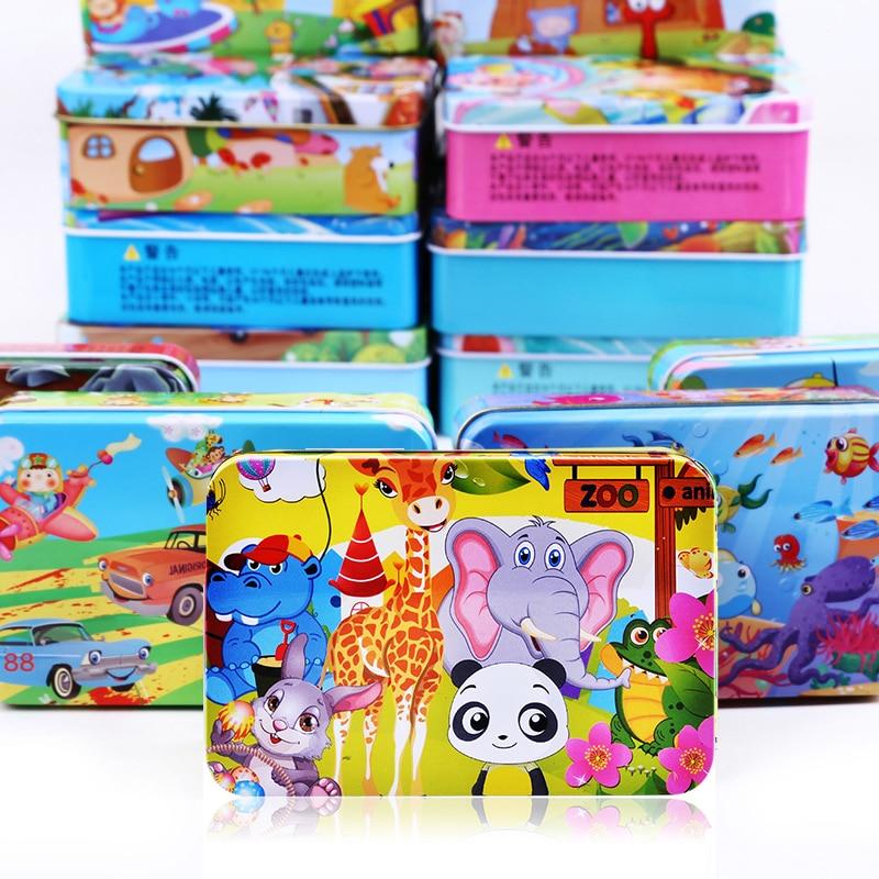 Лидер продаж, 100 шт., деревянные головоломки, Детские Мультяшные головоломки, Детские Обучающие интерактивные игрушки для обучения, рождест...