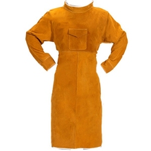 HLZS-85CM Welding Apron with Sleeves, Leather Welder Apron, Cowhide Leather and Refractory Welding with Adjustable Size