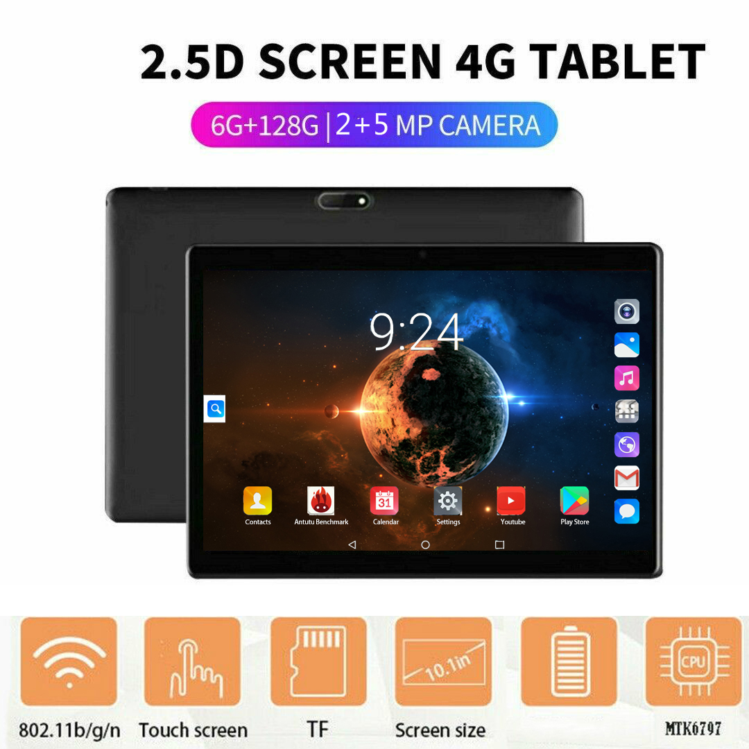 YAHU 2.5D Steel Screen 10.1 Inch Tablet Android 8.0 3G 4G Lte Phone Call Octa Core 6GB RAM 128GB ROM Bluetooth WiFI Tablet PC 10