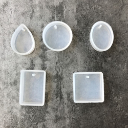 1/5Pcs/Set Round Square Oval Waterdrop Rectangle Shape Hole Silicone Mold DIY Craft Epoxy Resin Molds Necklaces Pendant Mould