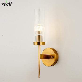 Nordic Wall lamp stairs Led wall light for home bedroom Bathroom Corridor Mirror Lights E14 Glass shade sconce wandlamp